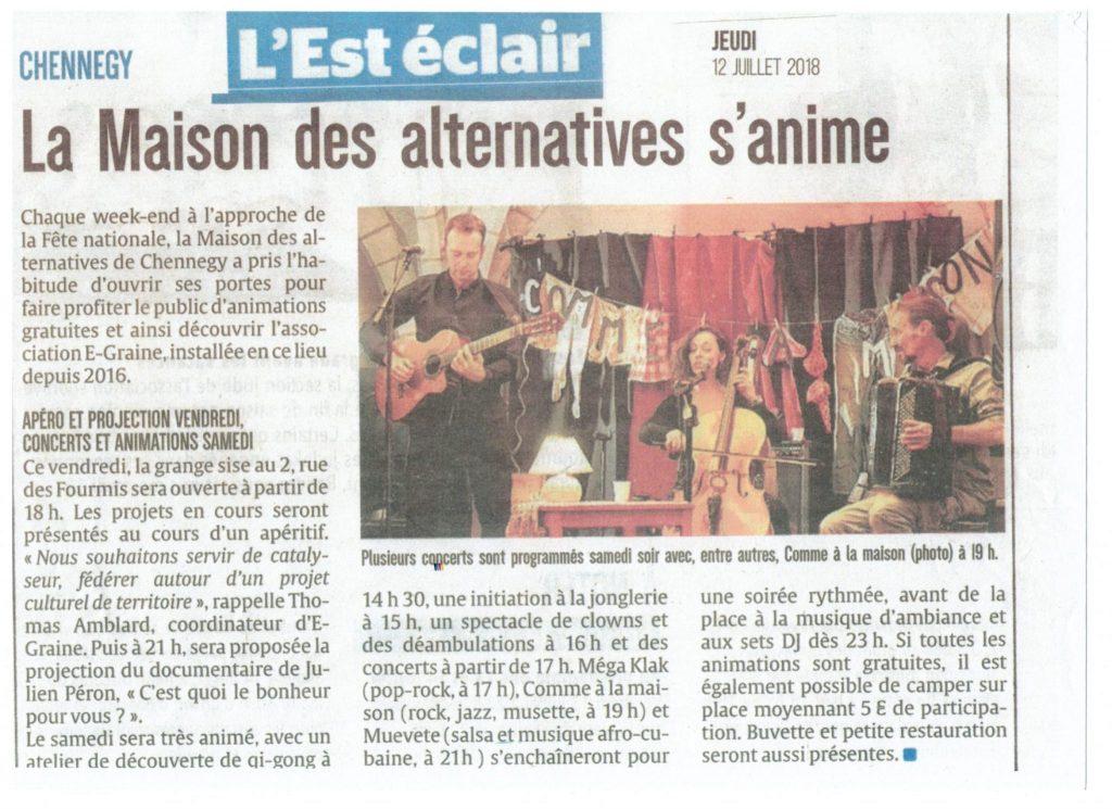 Article L'est-éclair - Concert au Pays d'Othe