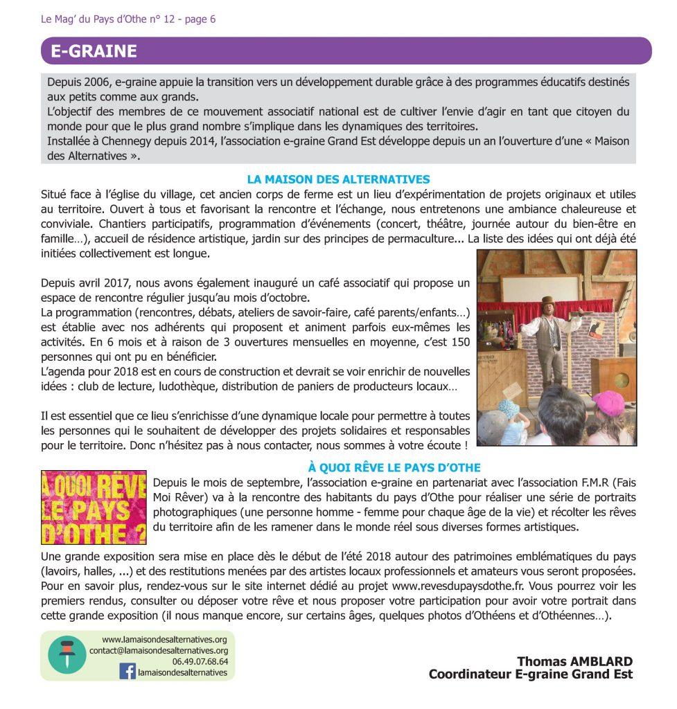 Le MAG du Pays d'Othe - e-graine La Maison des Alternatives dans l'Aube près de Troyes