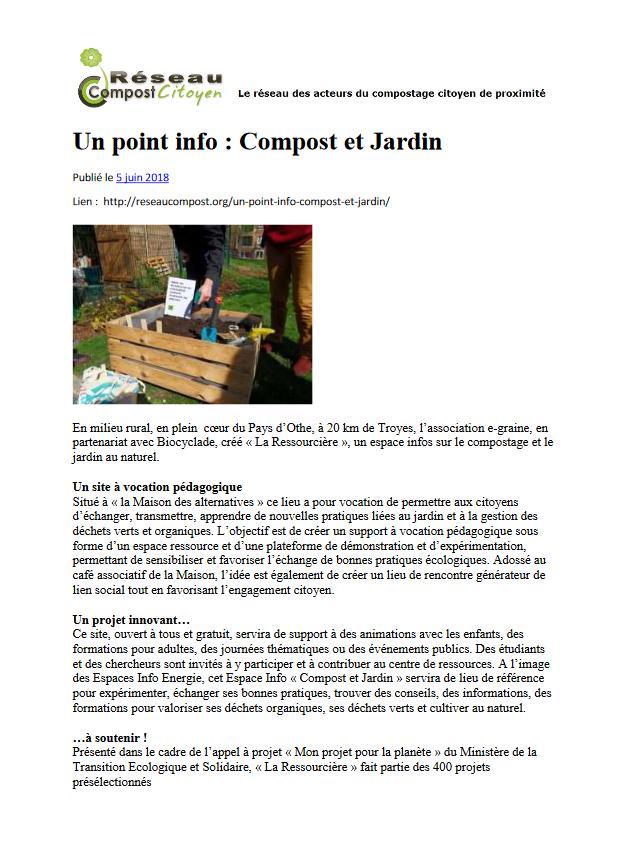 Article Réseau Compost Citoyen